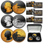 2021 Washington Crossing Delaware Quarters RUTHENIUM GOLD SILVER Set of All 3 With Case