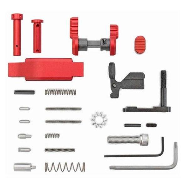 ARMASPEC Armaspec AR 15 Lower Parts Kit Superlight Less FCGGrip-RED