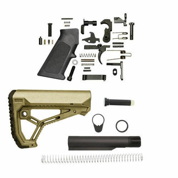 FAB DEFENSE Fab Defense GL-Core AR 15 Lower Build Kit - FDE, AR 15 Lower Build Kit, AR 15 Parts, AR 15 Kit, AR 15 Lower Kit, AR Parts, FDE AR 15 Parts, AR Parts
