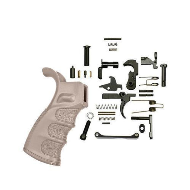 BLACK RIFLE DEPOT AR 15 Lower Parts Kit with DMR Grip FDE, AR 15 Lower Parts Kit, AR 15 Lower Parts, AR 15 Lower Kit, AR 15 Parts, AR15 Parts, AR 15 Accessories, Best AR 15 Lower Parts Kit, AR 15 LPK, American Made AR 15 LPK