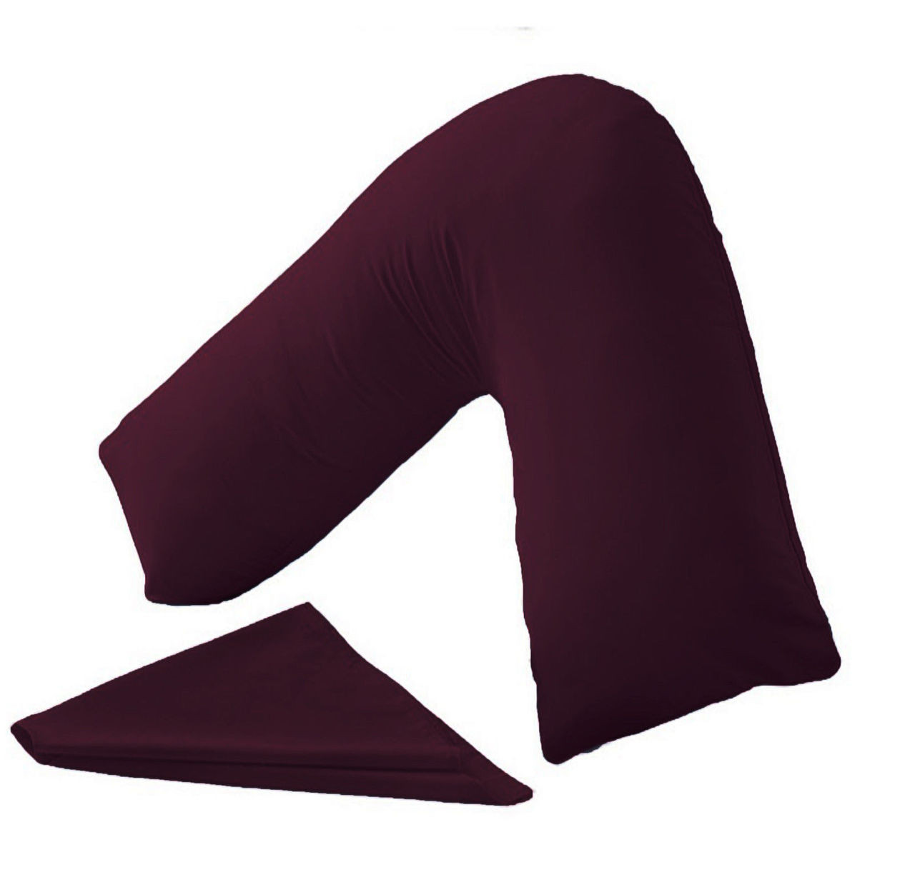 V Shaped Pillow And Pillowcase (Plum