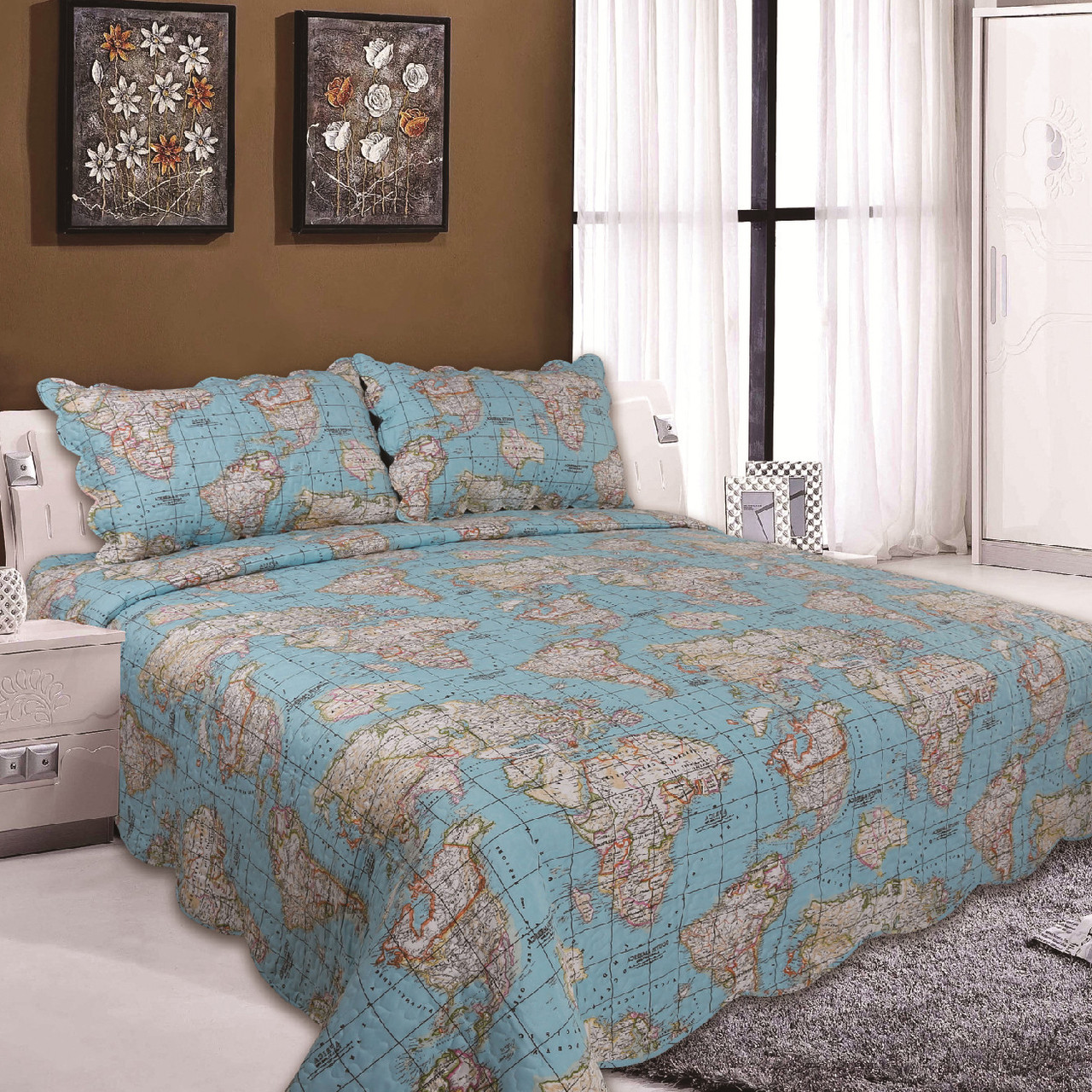 Digital Print World Map Quilted Bedspread on map sheet, map home decor, map drawing, map market garden, map paper, map quilt, map furniture, map gallery wall, map blanket, map games, map travel, map office decor, map wallpaper, map room ideas, map pillow, map dishes, map crib set, map baby nursery, map shower curtain, map themed bedroom,