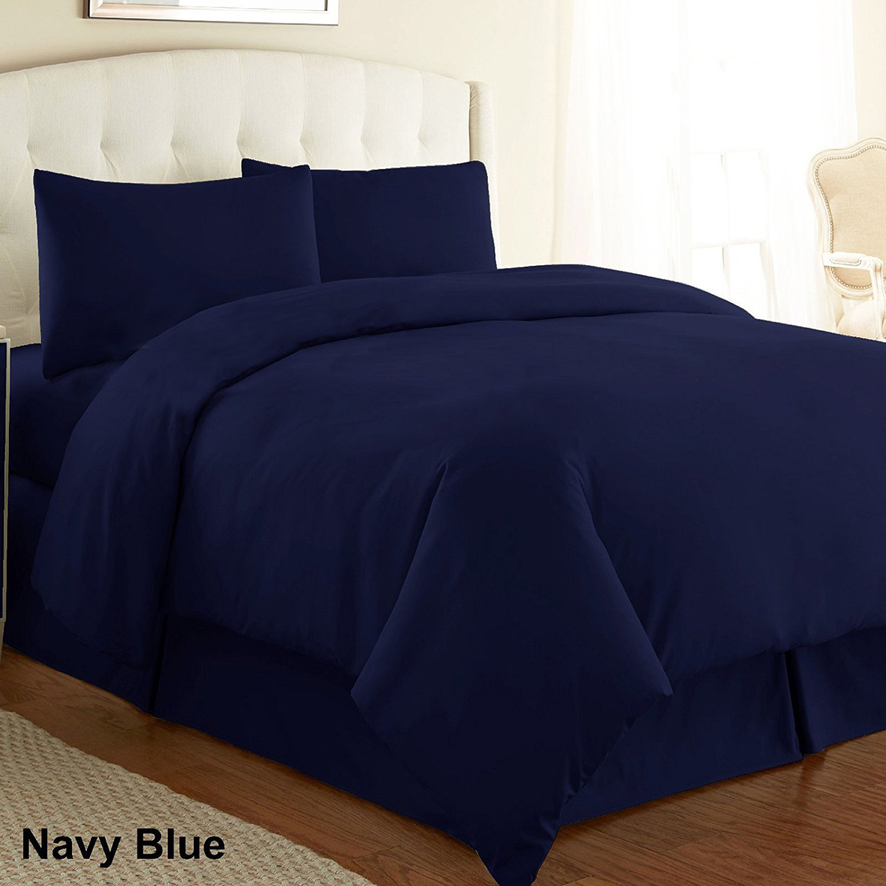 Plain Dyed Duvet Cover Set Navy Blue Luxury Poly Cotton Dyed