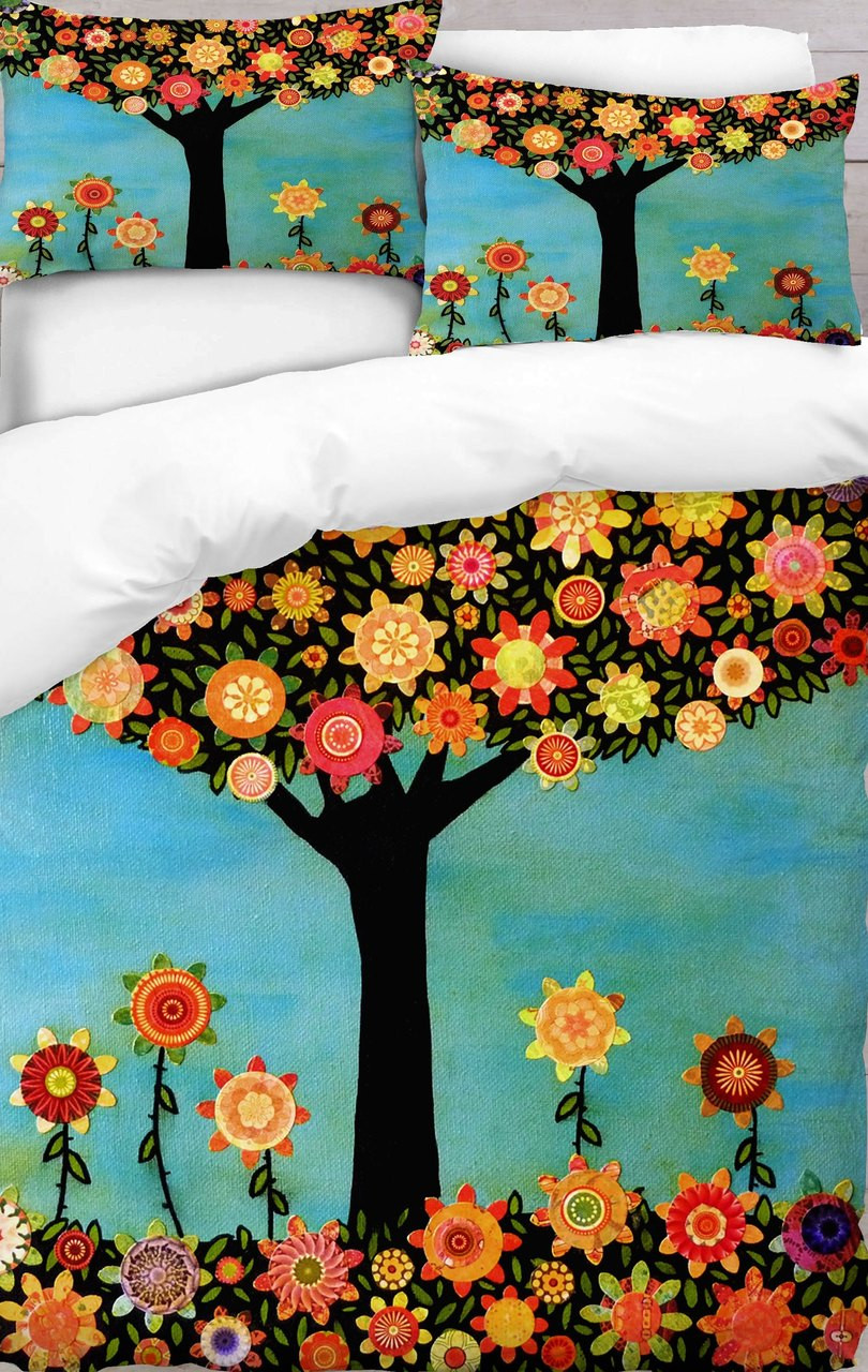 Colourful Tree With Flower Duvet Cover