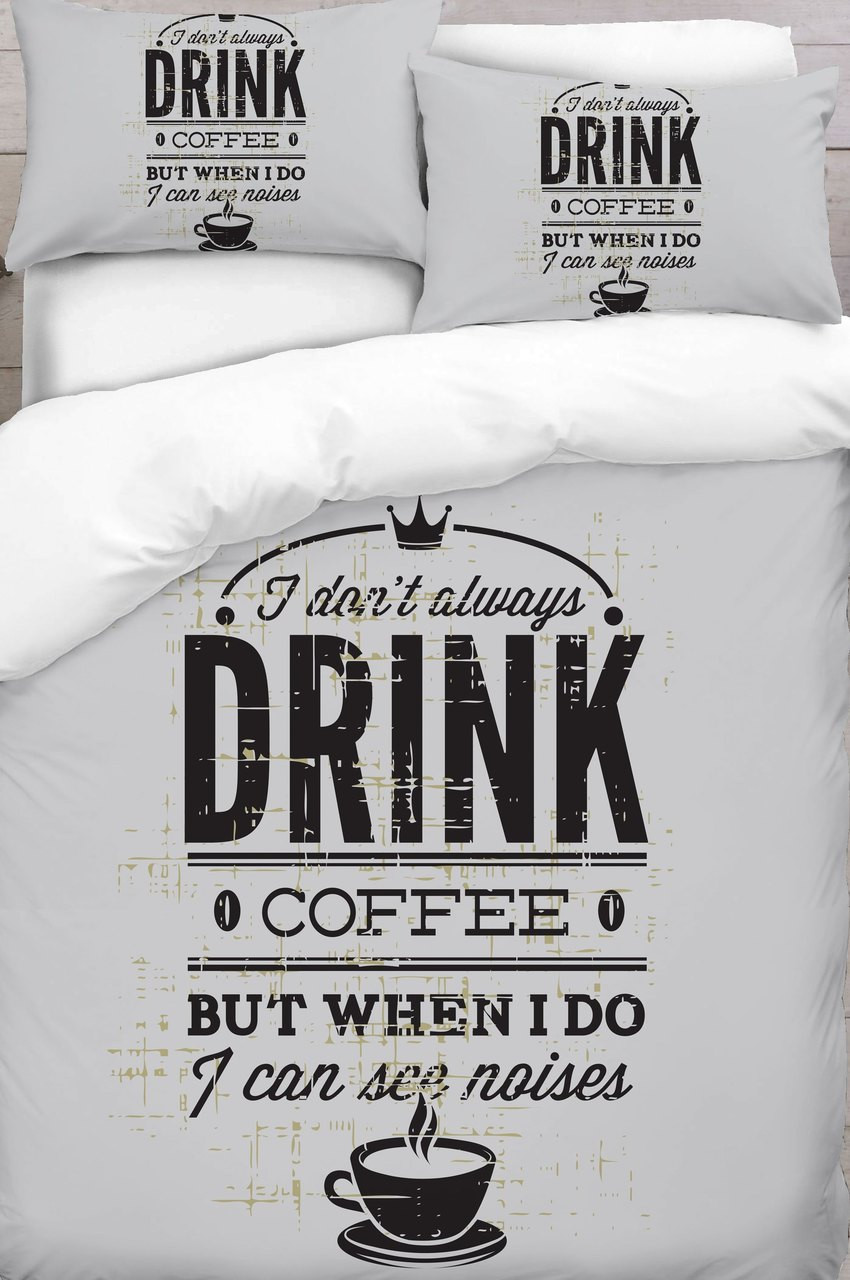 Cream And Grey Coffee Text Printed Duvet Cover