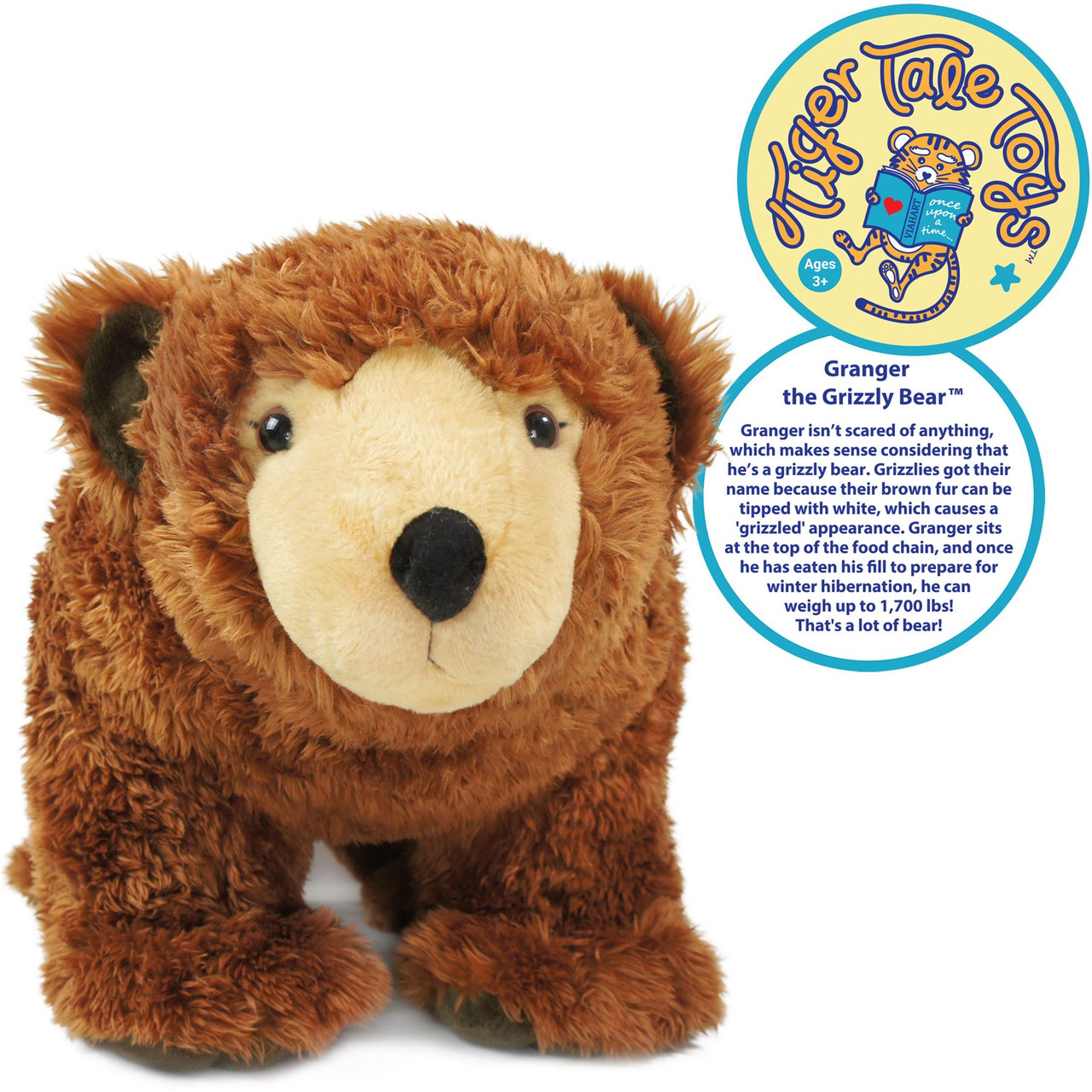 Granger The Grizzly Bear 24 Inch Stuffed Animal Plush Teddy Bear By Tiger Tale Toys Viahart Toy Co