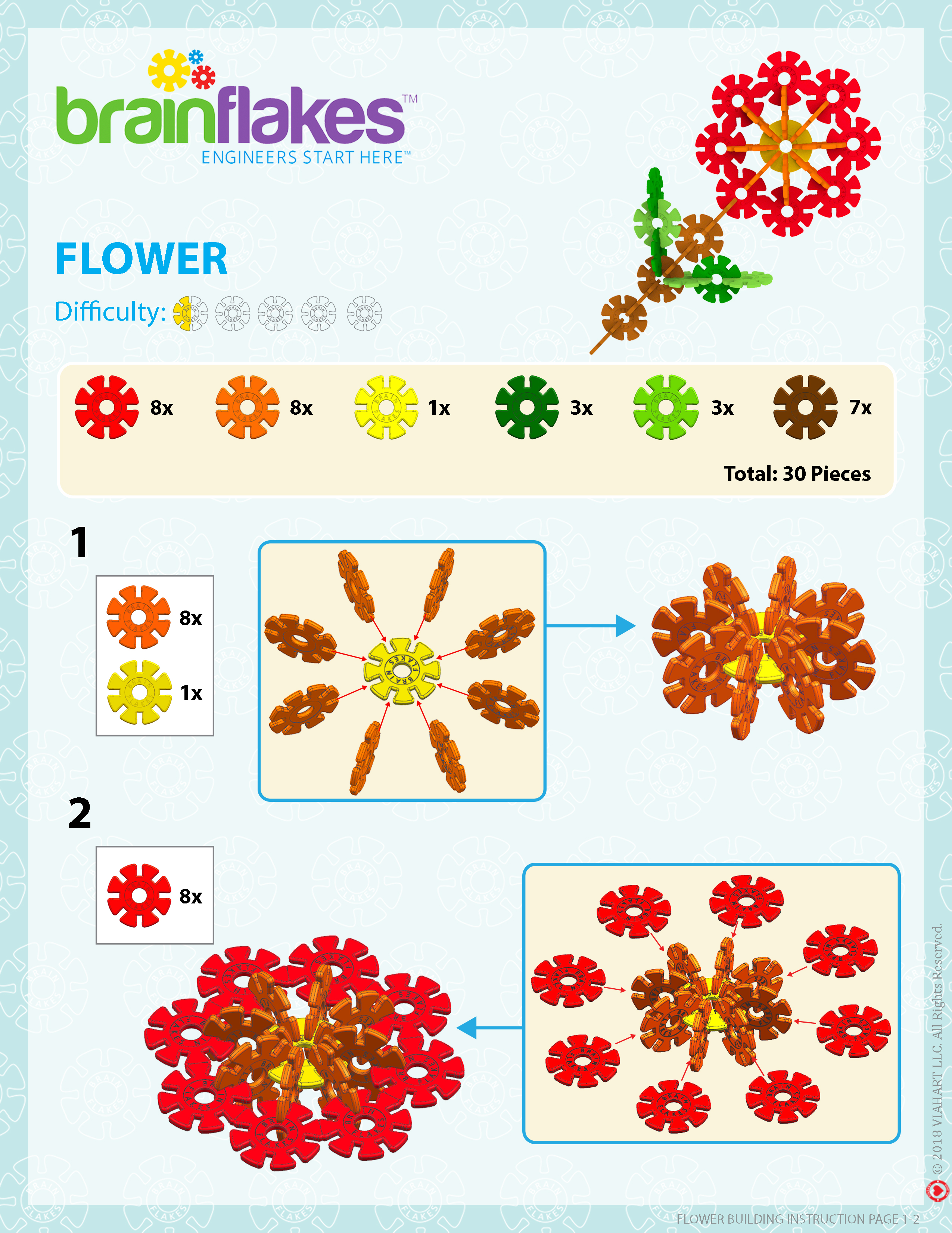 brain flakes instruction flower