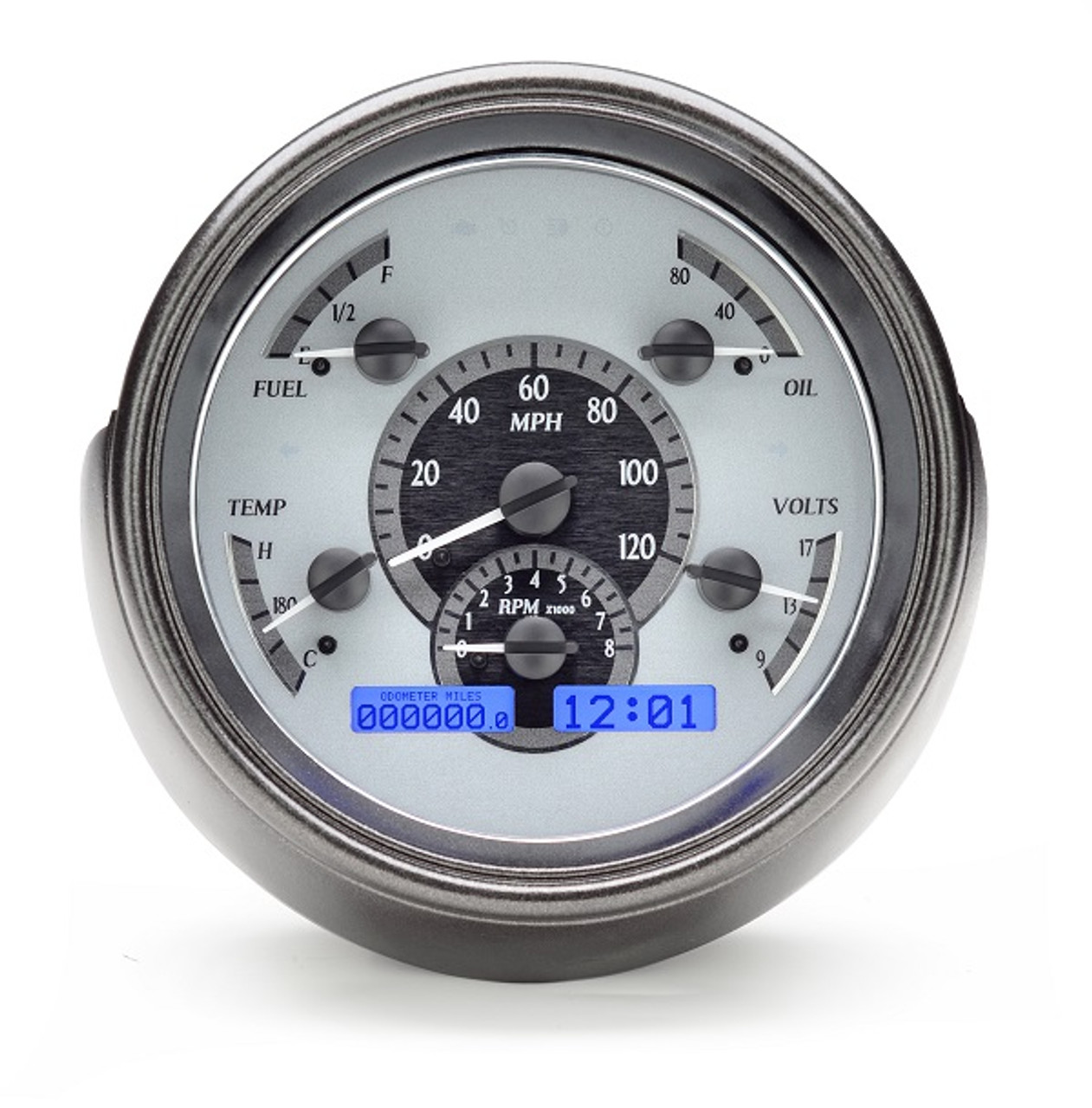 Black Alloy Style Face 1951 Ford Car Analog Clock White Display VLC-51F-K-W