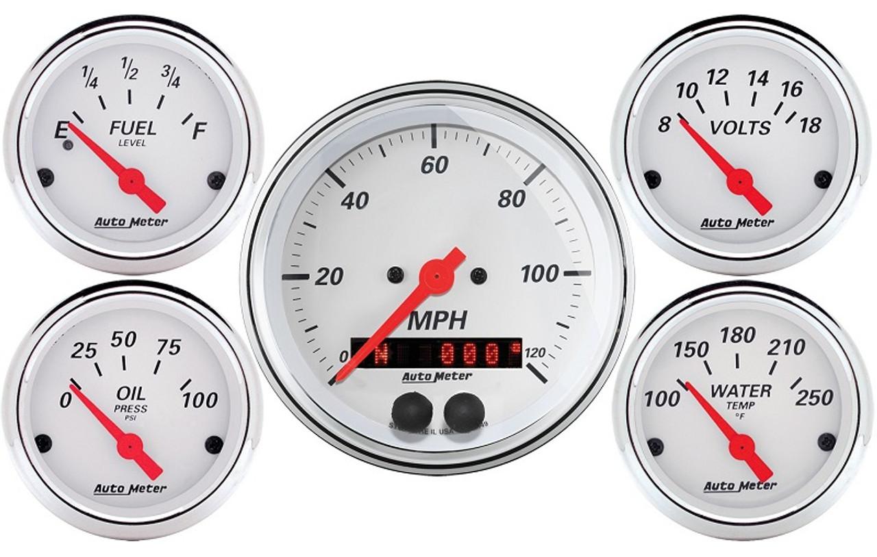 AutoMeter Arctic White 5 Piece Gauge Kit 3-3/8