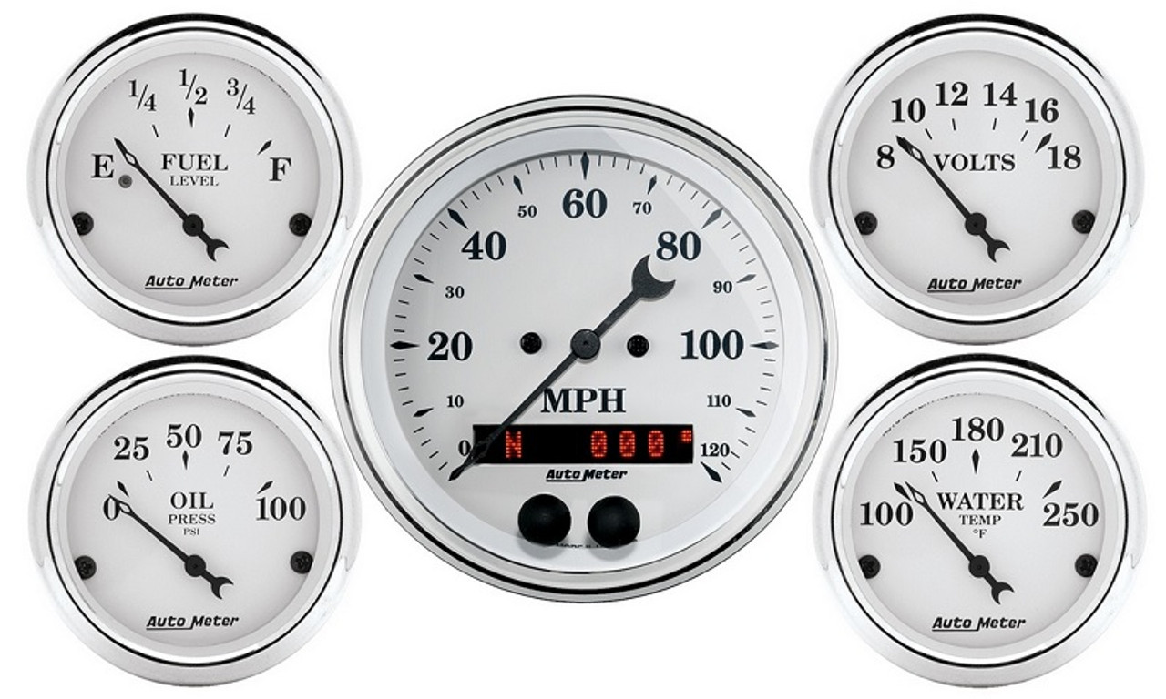 AutoMeter Old Tyme White 5 Piece Gauge Kit , 3-3/8