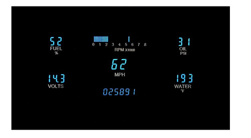 "Dakota Digital Dash Universal 5 Gauge Cluster for 3"" x 7"" Opening VFD3-1007"
