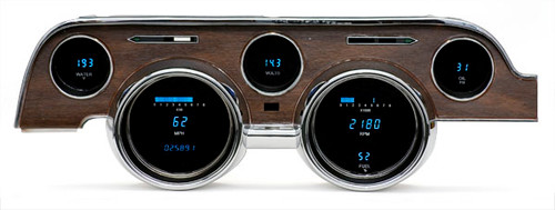 Dakota Digital 68 Ford Mustang 6 Gauge Dash Cluster Instrument System Woodgrain Bezel VFD3-68M-W