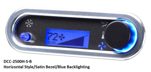 DCC-2500H-S-B with HORIZONTAL style, SATIN bezel and BLUE backlighting