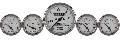 Auto Meter American Platinum 5 Gauge Kit Mechanical Speedoter & Electric Oil Pressure, Water Temp, Volt, and Fuel Level
