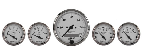 "AutoMeter American Platinum 5 Piece Gauge Kit 3-1/8"" & 2-1/16"", Electric Speedometer - 1902"