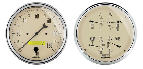 """Auto Meter Antique Beige 2 Piece Gauge Kit 5"""" Quad Gauge & Speedometer - 1803"""
