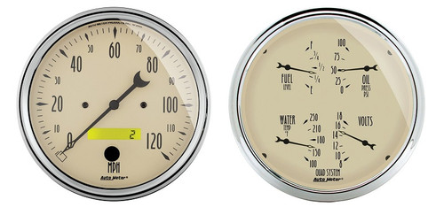 "Auto Meter Antique Beige 2 Piece Gauge Kit 5"" Quad Gauge & Speedometer - 1803"