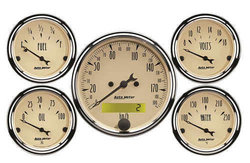 "AutoMeter Antique Beige 5 Piece Gauge Kit 3-1/8"" & 2-1/16"" KM/H Electric Speedometer - 1809-M"