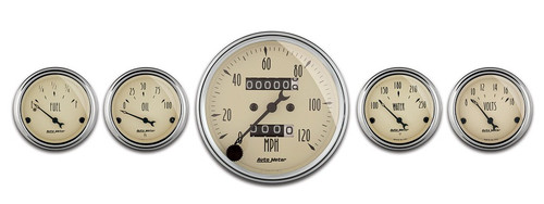 "Auto Meter Antique Beige 5 Piece Gauge Kit 3-1/8"" & 2-1/16"" Mechanical Speedometer - 1808"