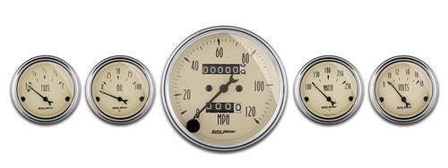 """Auto Meter Antique Beige 5 Piece Gauge Kit 3-1/8"""" & 2-1/16"""" Mechanical Speedometer - 1808"""