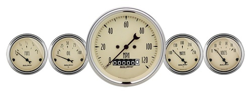 "Auto Meter Antique Beige 5 Piece Gauge Kit 3-1/8"" & 2-1/16"" Electric Speedometer - 1840"