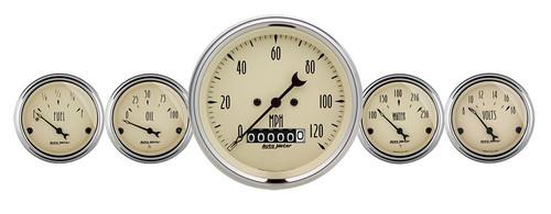 """Auto Meter Antique Beige 5 Piece Gauge Kit 3-1/8"""" & 2-1/16"""" Electric Speedometer - 1840"""