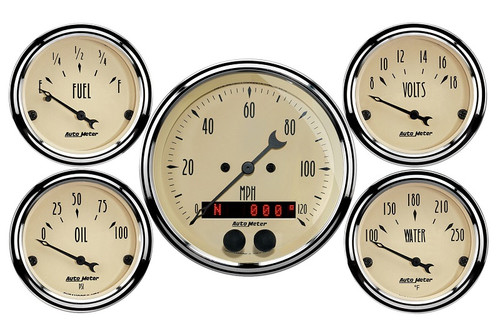 "AutoMeter Antique Beige 5 Piece Gauge Kit 3-1/8"" & 2-1/16"" GPS Speedometer - 1850"