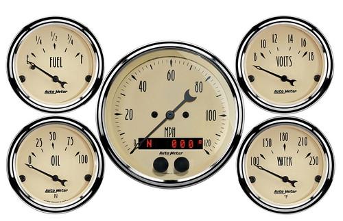 """AutoMeter Antique Beige 5 Piece Gauge Kit 3-1/8"""" & 2-1/16"""" GPS Speedometer - 1850"""
