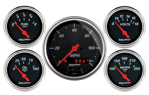 Designer Black 5 pc Gauge Kit, GPS Speedometer 1450