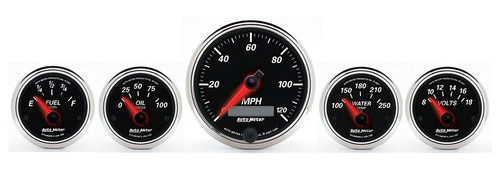 Auto Meter Designer Black II 5 Gauges Kit 1201