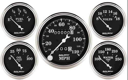 Auto Meter Old Tyme Black 5 Gauge Kit Mechanical Speedometer 1708