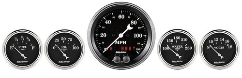 Auto Meter Old Tyme Black 5 Gauge Kit GPS Speedometer 1750