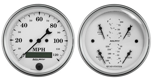 Auto Meter Old-Tyme White 2 pc Gauge Set 1600