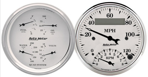 Auto Meter Old-Tyme White 2 pc gauge set Quad & Tach/Speedometer 1620