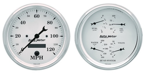 "Auto Meter Old-Tyme White 2 pc 5"" Gauge Kit - 1603"