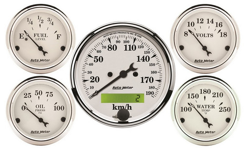 Auto Meter Old Tyme White 5 pc Gauge Kit Metric, 1602-M