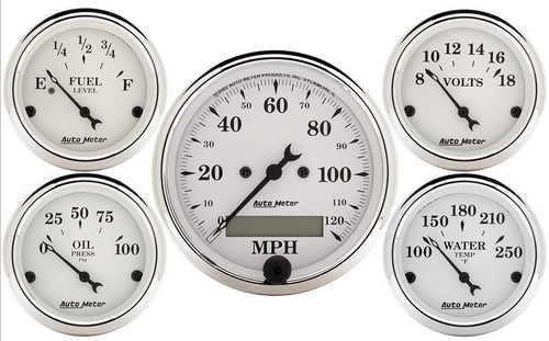 Auto Meter Old Tyme White 5 pc Gauge Kit MPH 1602