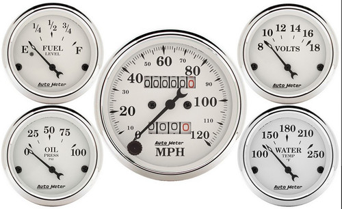 Auto Meter Old Tyme White 5 pc Kit Mechanical Speedometer 1601