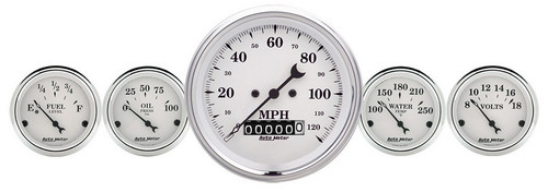 Auto Meter Old Tyme White 5 pc Gauge Kit 1640