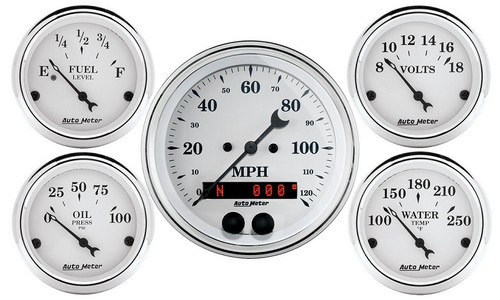 Auto Meter Old Tyme White 5 pc Gauge Kit GPS Speedometer 1650