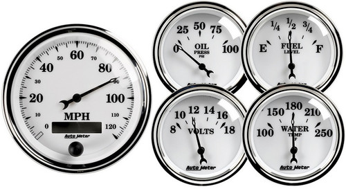 Auto Meter Old Tyme White II 5 pc Gauge Kit 1200