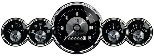 Auto Meter Prestige Black Diamond 5 pc Gauge Kit with wheel odometer - 2003