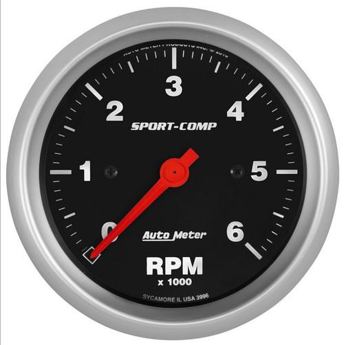 """Auto Meter Sport-Comp 3-3/8"""" In-Dash Tachometer Gauge 3996"""