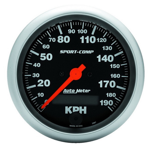 "Auto Meter Sport-Comp 3-3/8"" Speedometer 0-190 KM/H 3987-M"