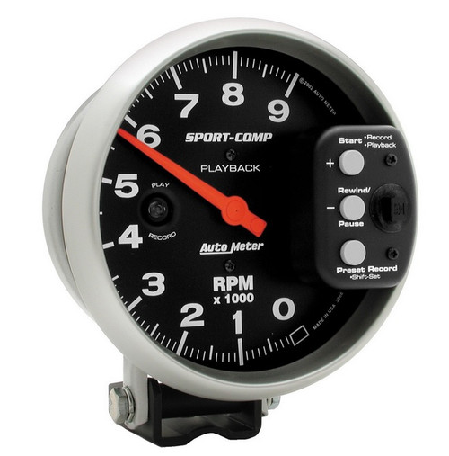 "Auto Meter Sport Comp 5"" Pedestal Playback Tach Gauge 0-9000 RPM - 3966"