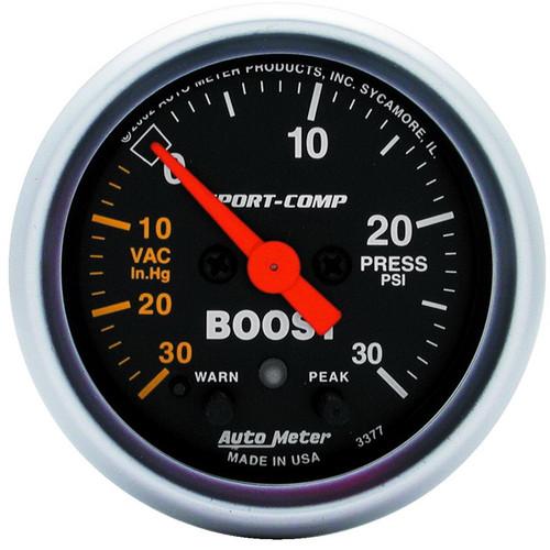 "Auto Meter Sport-Comp 2-1/16"" Boost/Vacuum Gauge 30 IN HG/30 PSI, Stepper Motor - 3377"