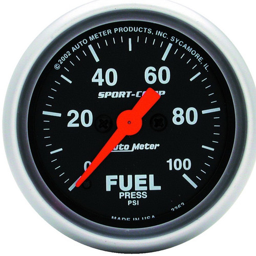 "Auto Meter Sport-Comp 2-1/16"" Fuel Pressure Gauge, 0-100 PSI, Stepper Motor - 3363"