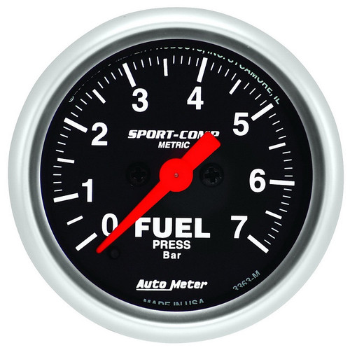 "Auto Meter Sport-Comp 2-1/16"" Fuel Pressure Gauge, 0-7 BAR, Stepper Motor - 3363-M"
