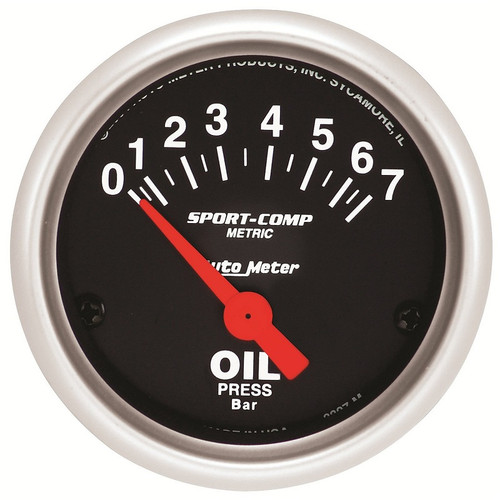 "Auto Meter Sport-Comp 2-1/16"" Oil Pressure Gauge, 0-7 BAR, Air-Core - 3327-M"