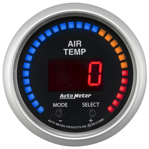 "Auto Meter Sport-Comp 2-1/16""2-1/16"" Air Temperature Gauge, Dual Channel 100-300 °F - 3358"